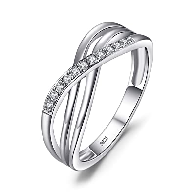 876774769f35 JewelryPalace Infinity Knot Cubic Zirconia Anniversary Promise Wedding Band  Ring 925 Sterling Silver Size 6