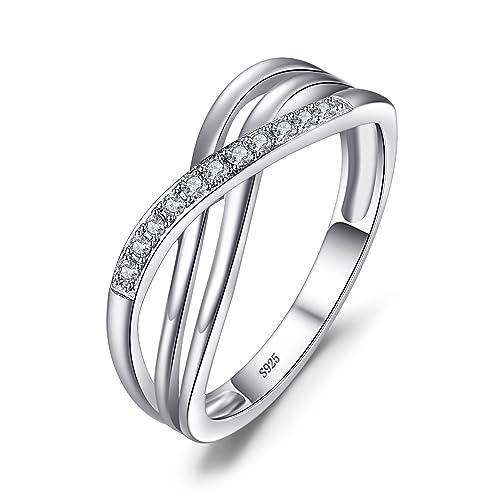 JewelryPalace Mujeres Infinity Cubic Zirconia compromiso y Banda de Boda 925 anillo de plata de ley