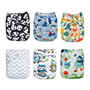 Alva Baby 6pcs Pack Fitted Pocket Cloth Diaper with 2 Inserts Each (Boy Color) 6DM12