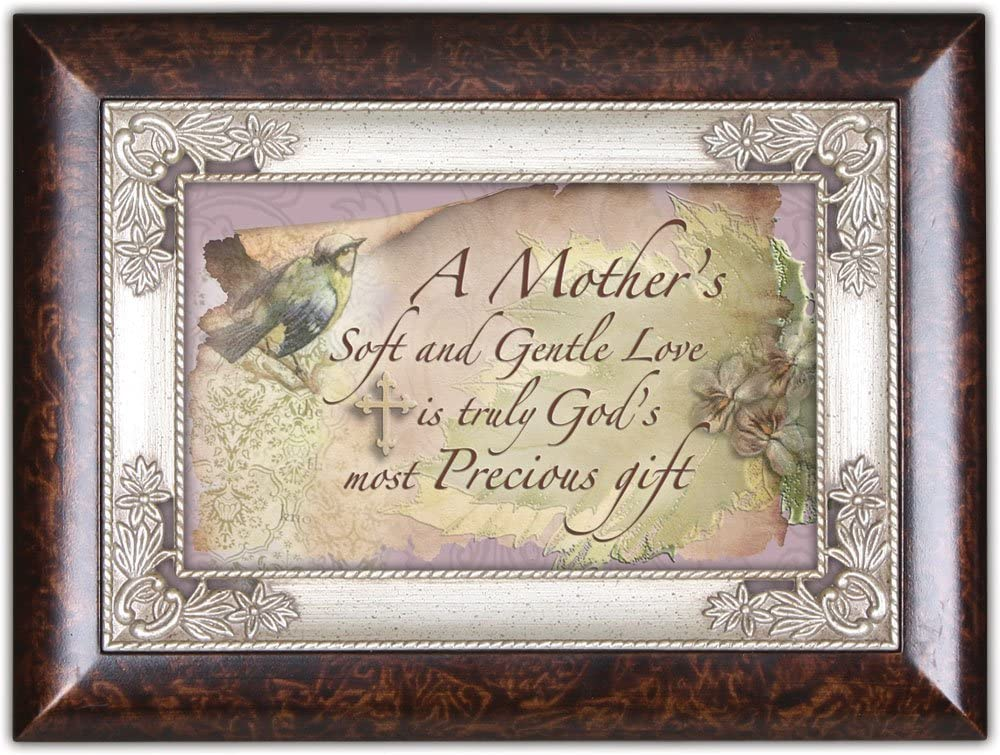 Cottage Garden Mothers Soft Gentle Love is Gods Burlwood Jewelry Music Box Plays Amazing Grace