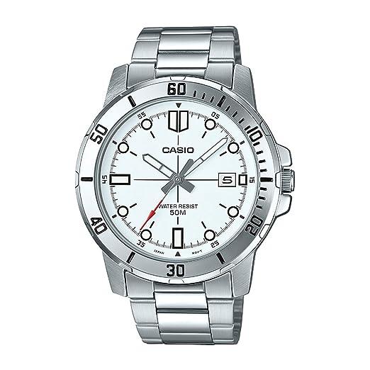 Casio MTP-VD01D-7EV - Reloj deportivo analógico casual para hombre, acero inoxidable, esfera blanca: Amazon.es: Relojes