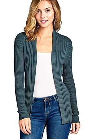 Khanomak Women s Plain Long Ribbed Open Front Long Sleeve Knit Cardigan  Sweater (Small a21072e44