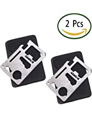 Alatod 11-Function Survival Pocket Tool, Stainless Steel Credit Card Pocket Sized Survival Multi tool (2 pieces)