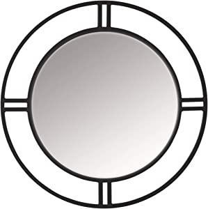 "Studio Designs Home Pewter Camber Modern Metal Dual Frame Round 30"" Wall Mirror Grey 71026, Diameter"