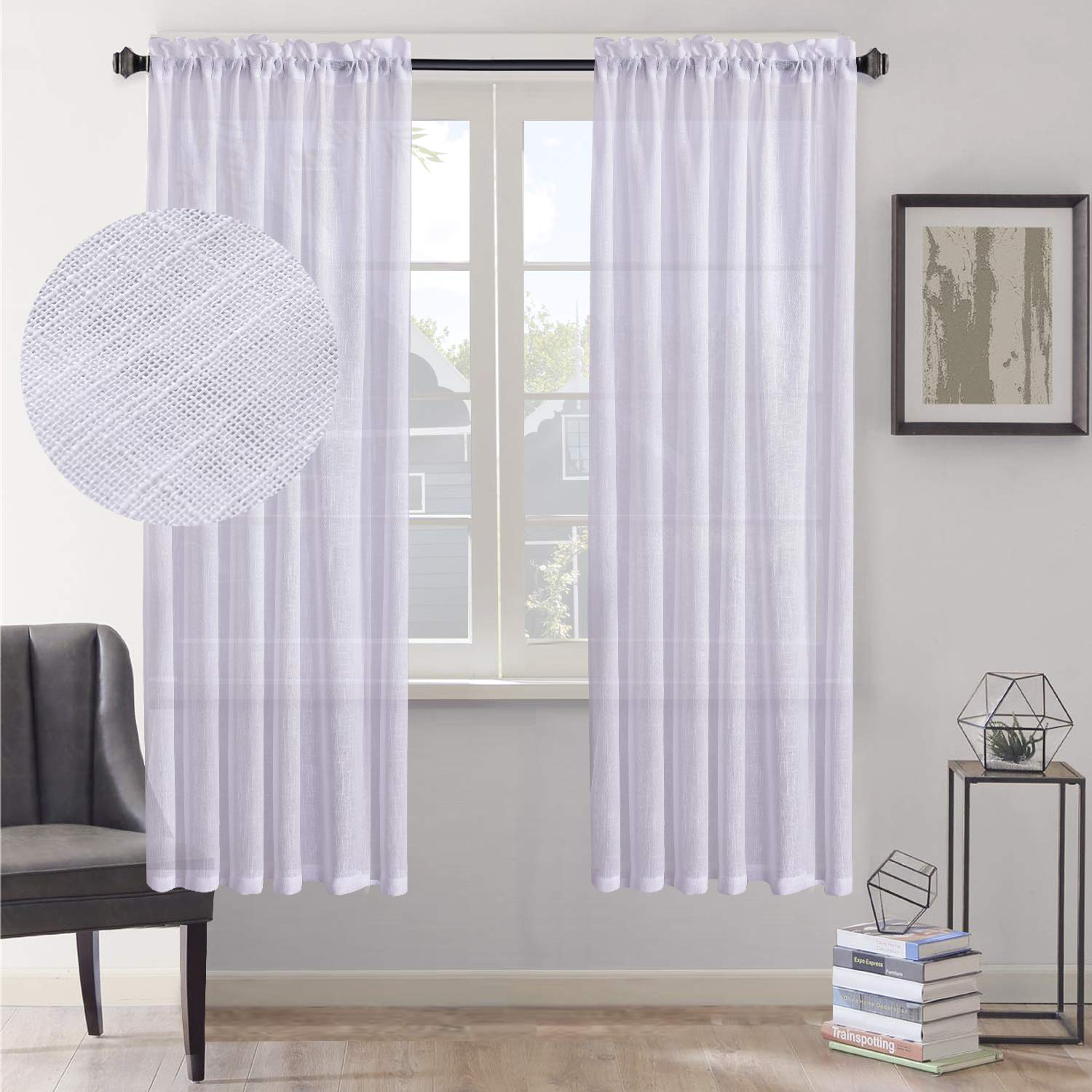 Set of 2 30 x 40 inch HOME BRILLIANT Premium Linen Sheer French Door Curtains Burlap Window Drapery Panels for Privacy