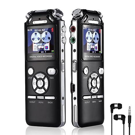 Grabadora de Voz Digital Portátil 16GB 1536kbps HD Grabador de Sonido con Reproductor de MP3 USB