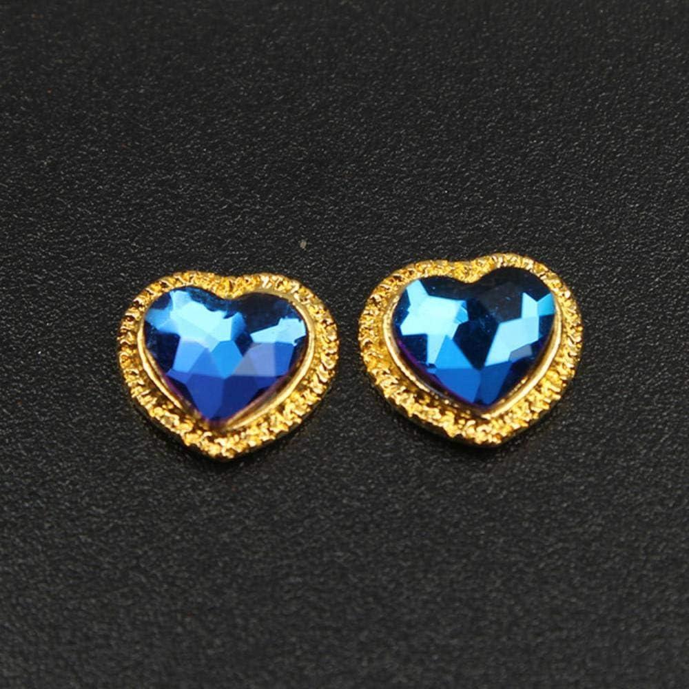PENVEAT Tendencia Coreana Nail Art Rhinestone Style 10 / 30pcs último Ribete de Metal 9x9mm diseño en Forma de corazón 3D Nail Art Jewelry, Flame Blue, 9x9mm