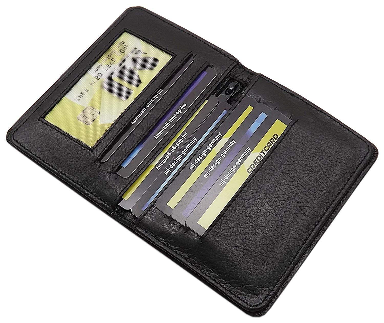 Cuir de buffle pochette de carte didentit/é et porte carte de cr/édit MJ-Design-Germany en 2 diverses couleurs Noir