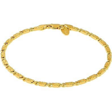 75744f02f0f Lifetime Jewelry Ankle Bracelet   24K Gold Plated Diamond Cut Star Flat  Link Chain   Durable