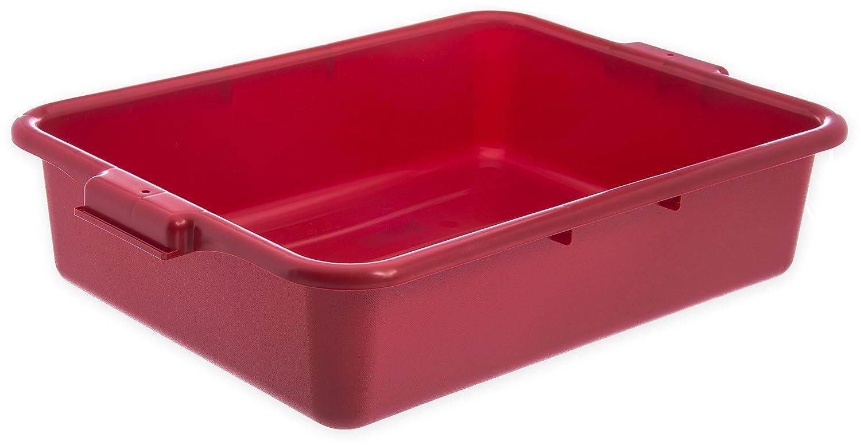 "Carlisle N4401005 Comfort Curve Ergonomic Wash Basin Tote Box, 5"" Deep, Red"