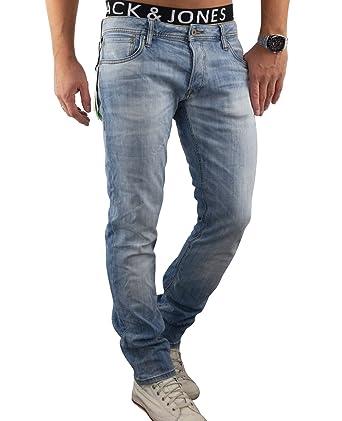 016ffedbedc3 JACK   JONES Herren Jeans jjiTIM 987 Used Look Elasthan Blue Denim Slim Fit  (28