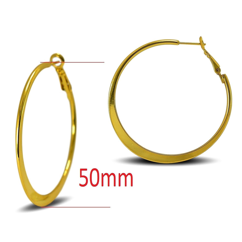 Blue Diamond Club - Medium 50mm 18ct Gold Filled Hoop Earrings Womens Creole 0NmudX4