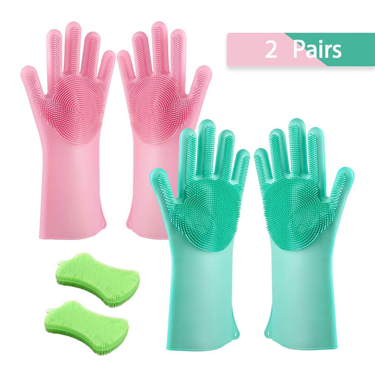 2 Pairs Magic Silicon Cleaning Scrubber Gloves Set with 2 Pack Sponge for Kitchen, Dishwashing, Car Washing, Pet Massage   Heat Resistant Brush Gloves Bundles