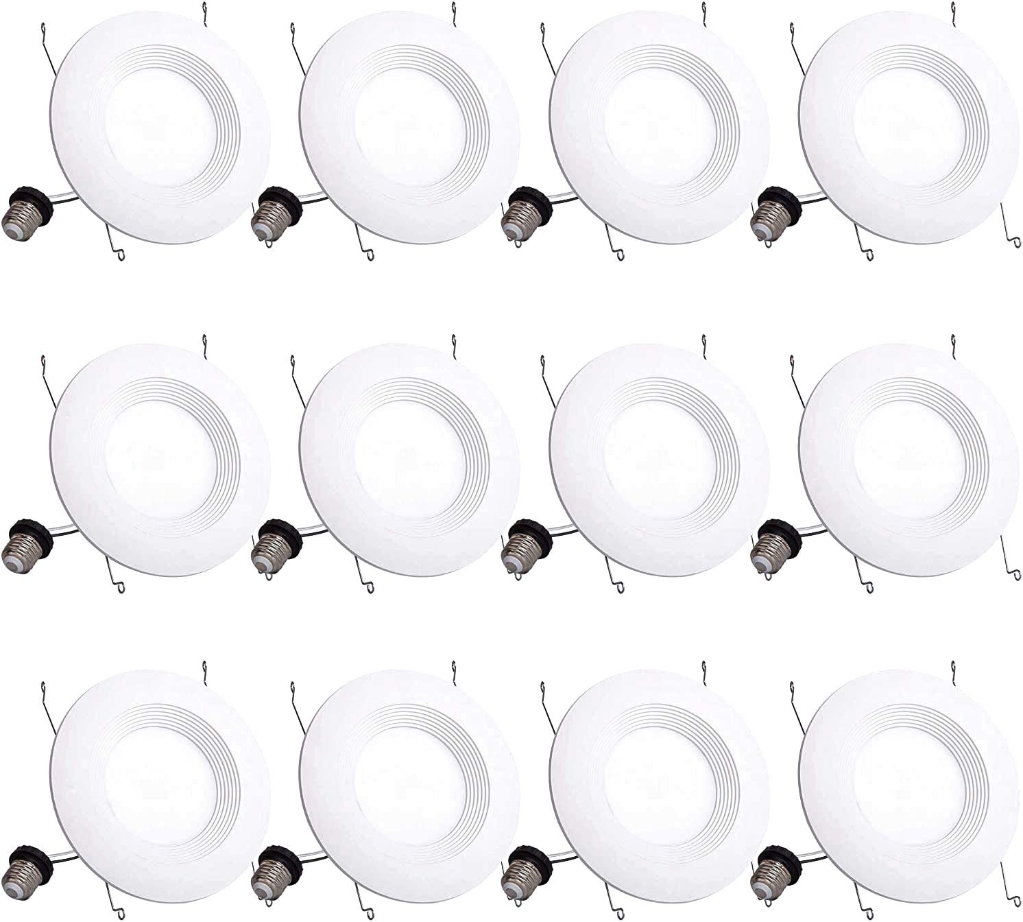 Bbounder Lighting 12 Pack 5/6 Inch LED Recessed Downlight, Baffle Trim, Dimmable, 13W=100W, 4000K Cool White, 1000 LM, Damp Rated, Simple Retrofit Installation - UL + Energy Star No Flicker