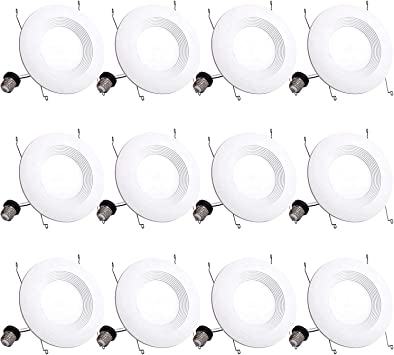 Bbounder Lighting 12 Pack 5/6 Inch LED Recessed Downlight, Baffle Trim, Dimmable, 12.5W=100W, 3000K Warm White, 950 LM, Damp Rated, Simple Retrofit Installation - UL No Flicker