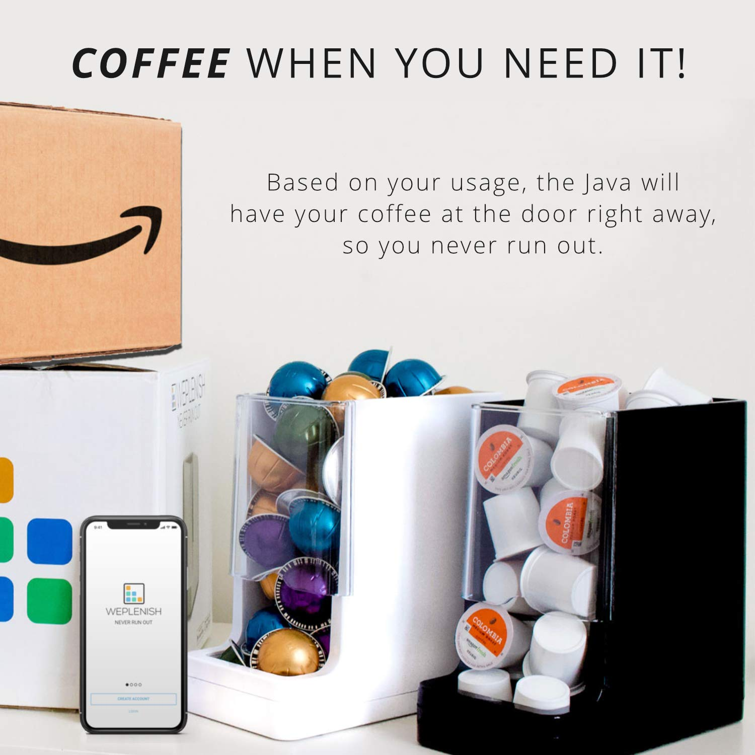 Never Run Out of Coffee - WePlenish Java - Smart Coffee Pod Holder with Amazon Dash Replenishment Built In | Nespresso Capsule and Keurig K-Cup Holder Black by WePlenish (Image #2)
