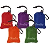 ChicoBag Original Reusable Shopping Tote / Grocery Bag (Bundle of 5 Bags - Red, Purple, Green, Orange, Blue)