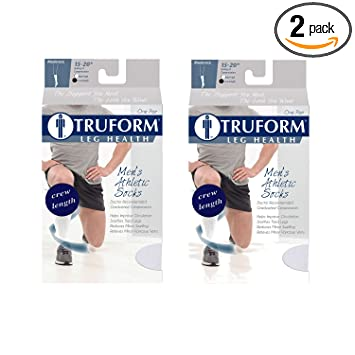 Truform 15-20 Men Athletic Crew Sock, Large, White (Pack of 2