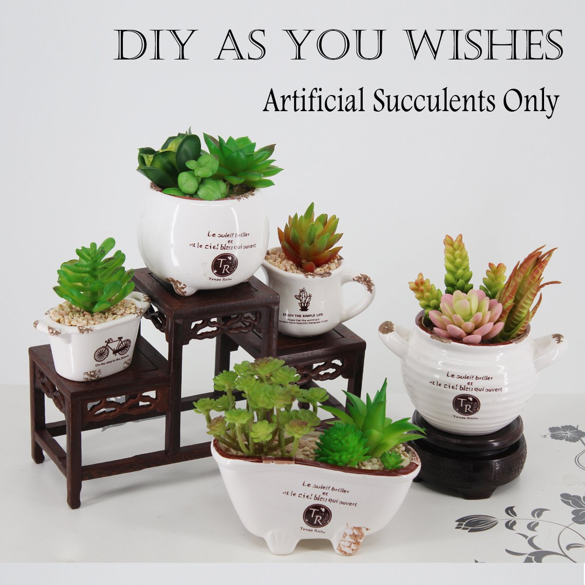 Amazon.com: Greatflower 12 Different kinds of Artificial Succulents ...