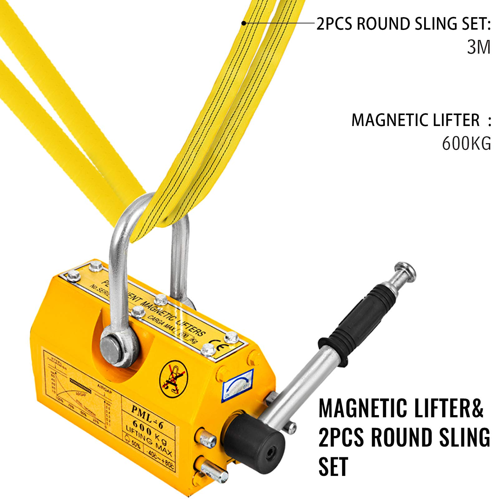 Mophorn 1320LBS Magnetic Lifter and 2Pcs 20Ft 6600LBS Perimeter Endless Round Lifting Sling