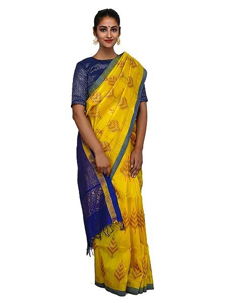 fcd5aacb9f0e7e Unnati Silks Women Yellow-Blue Handloom Uppada Kuppadam Silk Cotton Pattu  Saree With Blouse from the Weavers of Andhra Pradesh (UNM26110)  Amazon.in   ...
