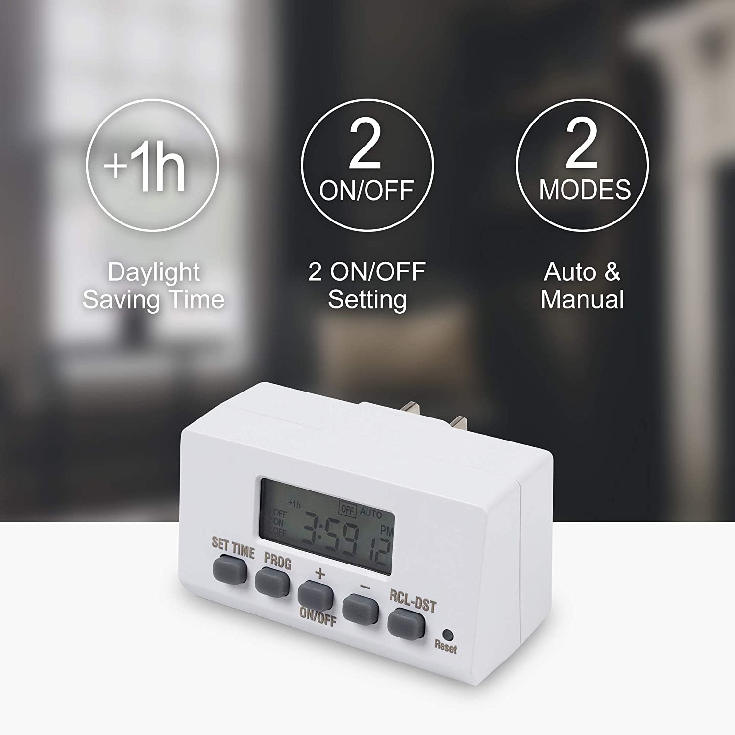 2 Pack Century Products Inc Century Mini Indoor Easy Set Stackable 24-Hour Digital Outlet Timer 2-Prong 2 On//Off Programs