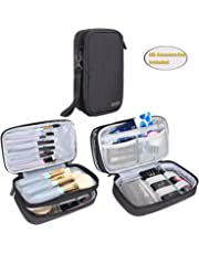 """Teamoy Travel Makeup Brush Bag(up to 8.5""""), Professional Cosmetic Artist Organizer Case with Handle, Compact and multifunctional-Small, Black (No Accessories Included)"""
