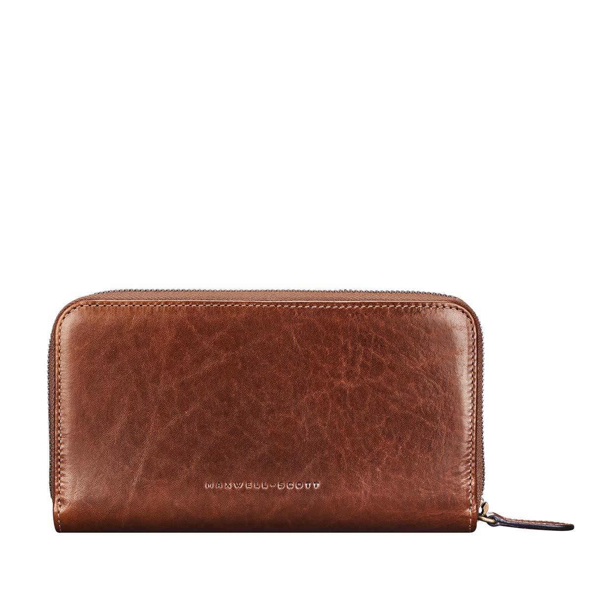 0b7048290402 Maxwell Scott® Personalised Luxury Tan Leather Zip Around Purse (Giorgia)   Maxwell Scott  Amazon.co.uk  Luggage