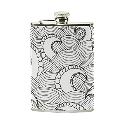 Amazon com | AHOMY Black And White Ocean Wave Flask for