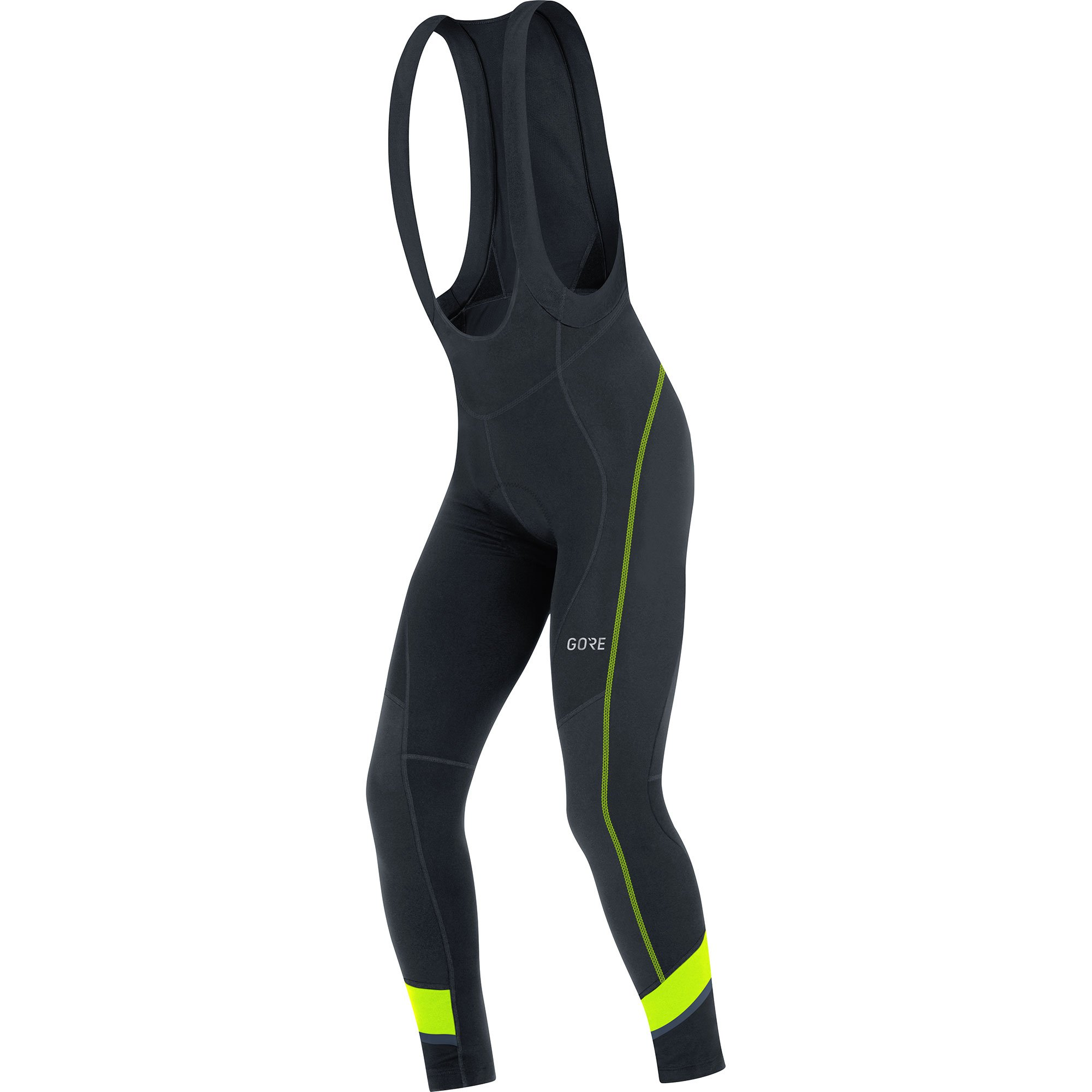 GORE WEAR Men's Breathable, Long Cycling bib Tights, with seat Insert, C5 Thermo Bib Tights+, M, Black/Neon-Yellow, 100365