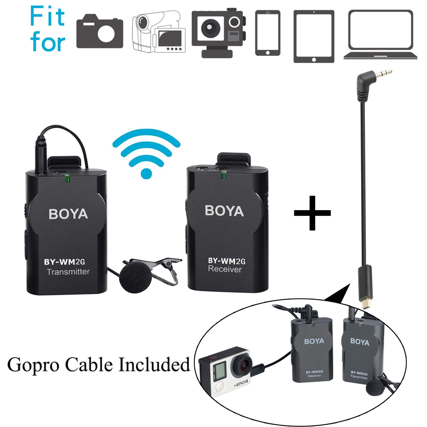 BOYA 3.5mm Lavalier Wireless Microphone Mic with Real-time Monitor for IOS Smartphone iPad Tablet DSLR Camera Sony RX0 Camcorder Audio Recorder PC Audio/Video (2 Foam Protectors Included) BY-WM4