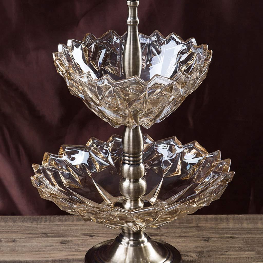 2層フルーツボウルクリエイティブラージグラスフルーツボウルホームリビングルームコーヒーテーブルデコレーション装飾品 (色 : B)  B B07LCM83ZM