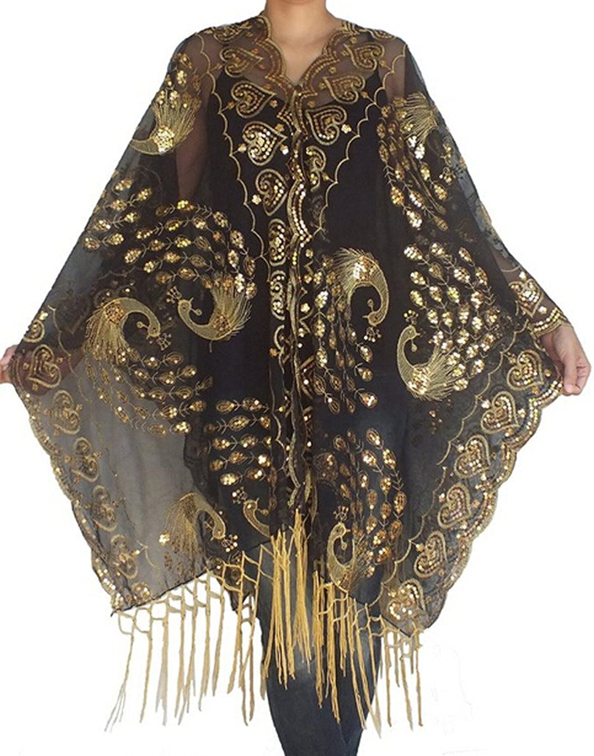 History of 1920s Coats, Furs and Capes  Peacock Phoenix Embroidery Sequins Wedding Scarf Shawls $19.99 AT vintagedancer.com