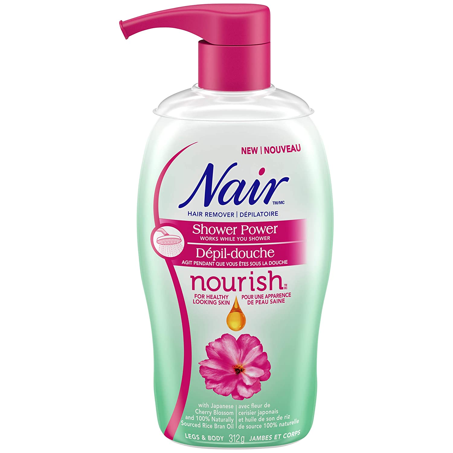 Nair Nourish Shower Power Hair Remover for Legs & Body with Japanese Cherry Blossom and Rice Bran Oil , 312-g Church & Dwight CA