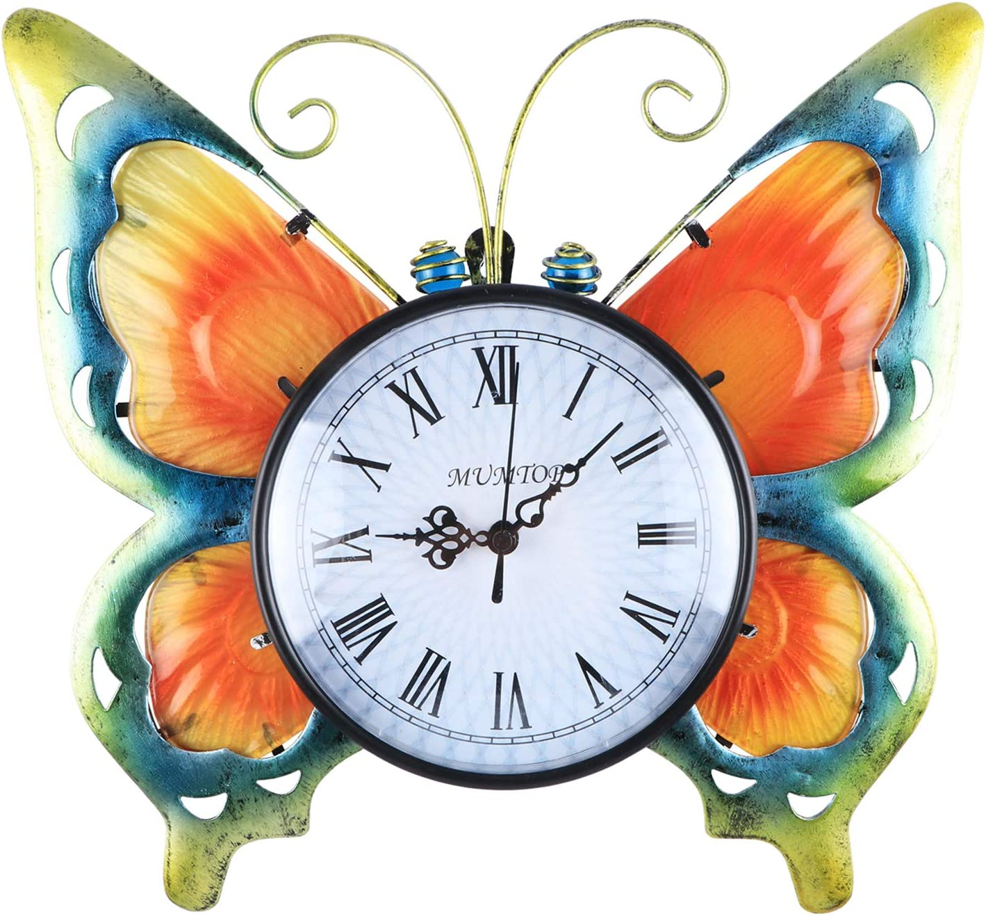 WONDER GARDEN Butterfly Wall Clock, Vintage Retro Time Clock Large Battery Operated Wall Clocks for Living Room Decor