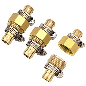 "3Sets Brass 5/8"" Garden Hose Mender End Repair Male Female Connector with Stainless Clamp"
