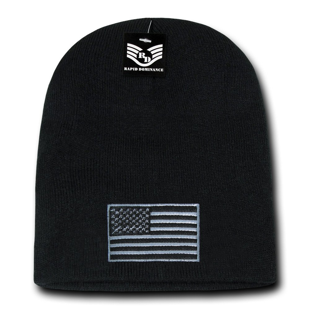 65f2d8dcbee Rapid Dominance USA Subdued Grey American Flag Embroidered Short Beanie Hat