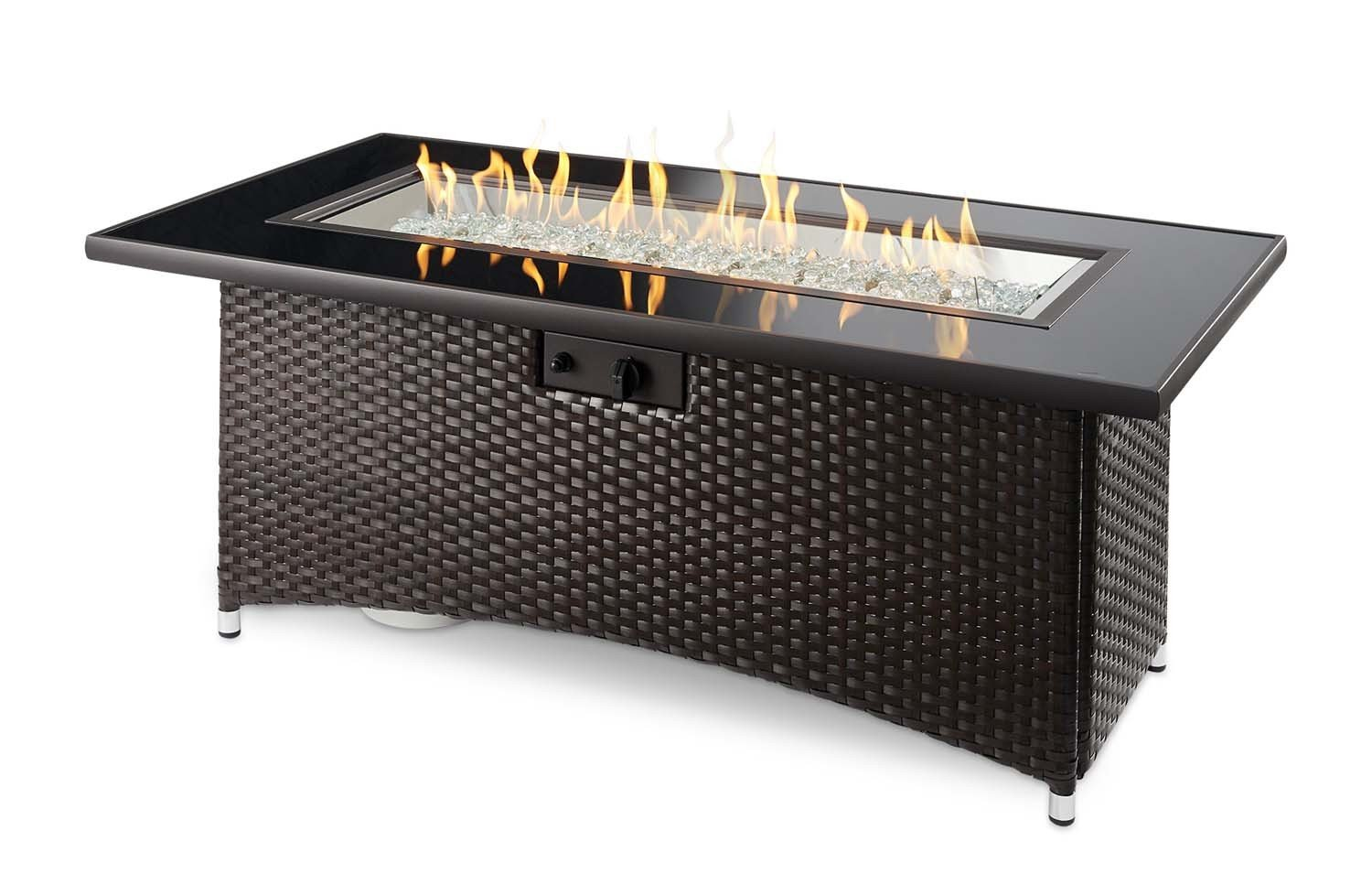 Outdoor Great Room Montego Crystal Fire Pit Coffee Table with Balsam Wicker Base by The Outdoor GreatRoom Company