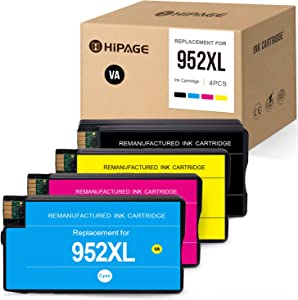 HIPAGE Remanufactured Ink Cartridge Replacement for HP 952XL 952 XL High Yield Combo Pack for OfficeJet Pro 8710 8720 8702 7740 8715 8740 8210 7720 8730 8725 8216(Black, Cyan, Magenta, Yellow, 4-Pack)