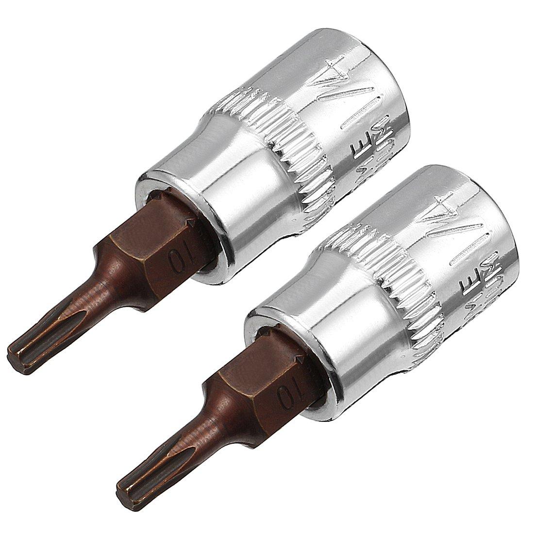 uxcell 3//8-Inch Drive Bit Socket Torx T20 S2 Steel 48mm Length 2 Pcs