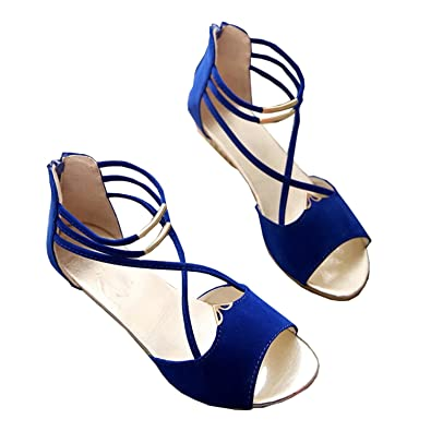5f9ec25c524 Women's sandals Fashion Women's sandal shoes summer wegde shoes Casual Ladies  Shoes woman sandals Open Toe gladiator Blue 7.5: Amazon.co.uk: Shoes & Bags