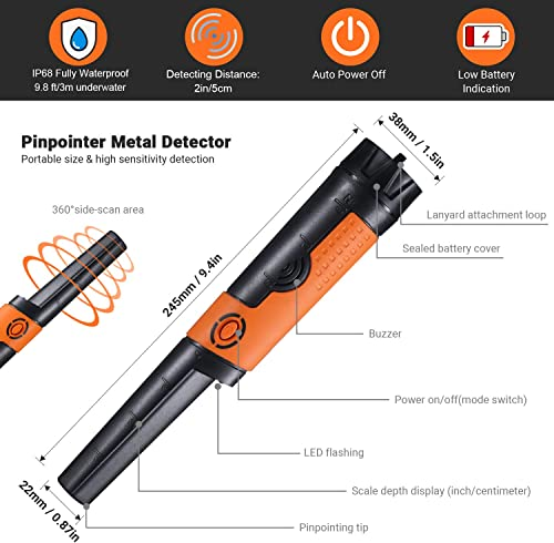 TACKLIFE Pinpointer Metal Detector Fully IP68 Waterproof