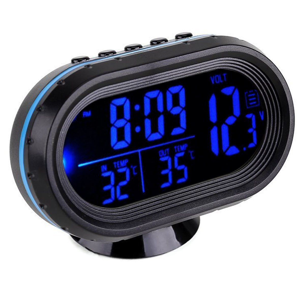 GuDoQi Car Thermometer LCD Clock Portable Digital Small Temperature Time Luminous Clocks Blue QBY UKAIALIDTV2760