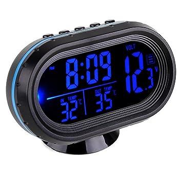 Amazon.es: GuDoQi Termómetro Del Coche Reloj LCD Relojes Digitales Portátiles De Pequeña Temperatura De Tiempo Azul