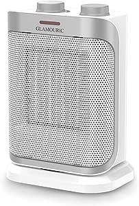 GLAMOURIC Calefactor de Cerámica, PTC Calefactor Oscilante de Cerámica, 2 Ajustes de Calor, 750 W / 1500 W, Protección contra Sobrecalentamiento, Color Blanco y Plateado