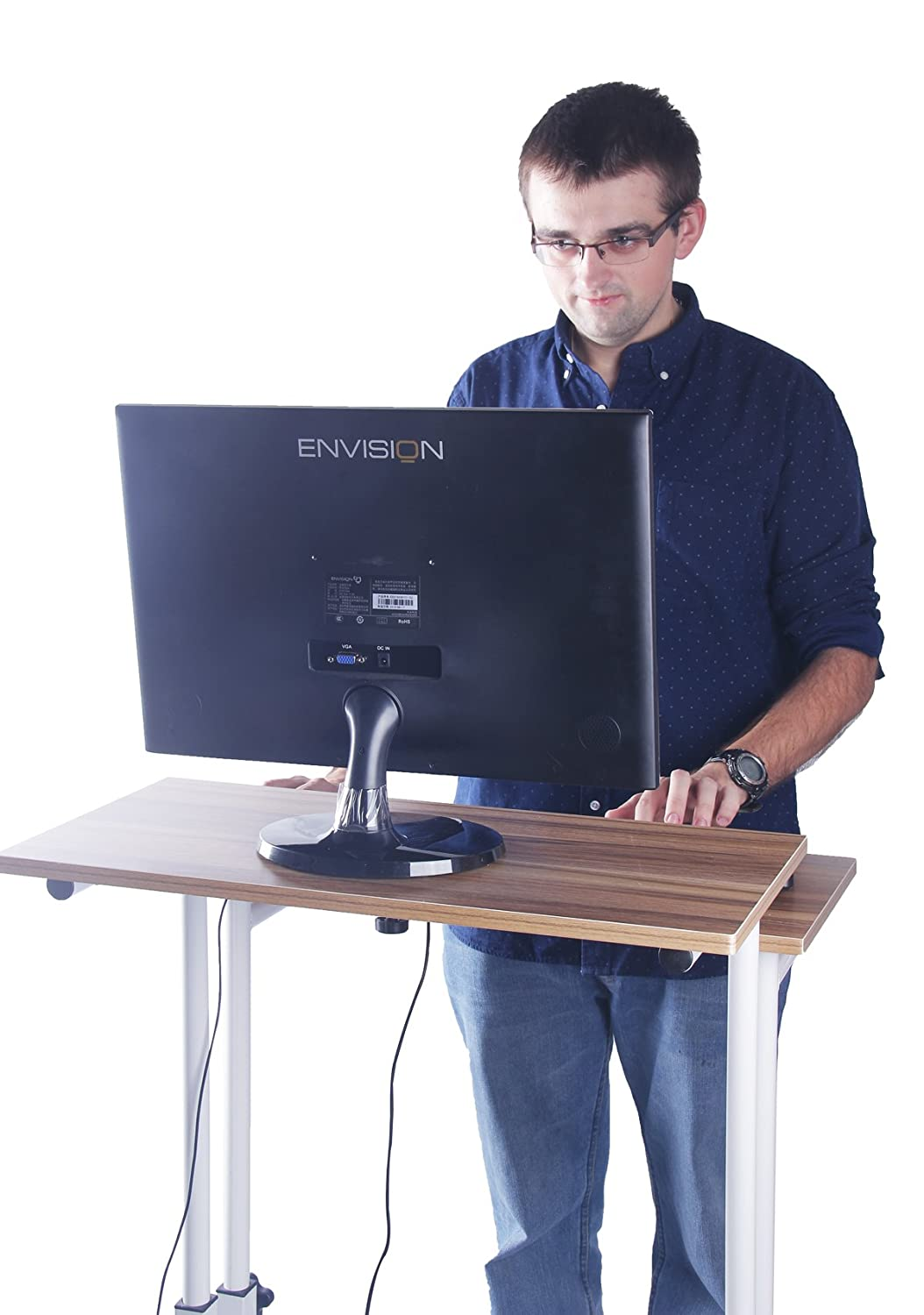 Delicol height adjustable Ergonomic standing desk computer workstation (Ancient Oak) by Delicol