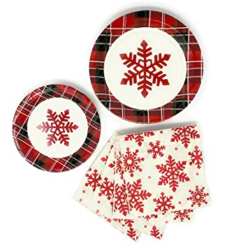 Amazon.com: Christmas Holidays 64 piece Dinnerware Paper Plates and ...
