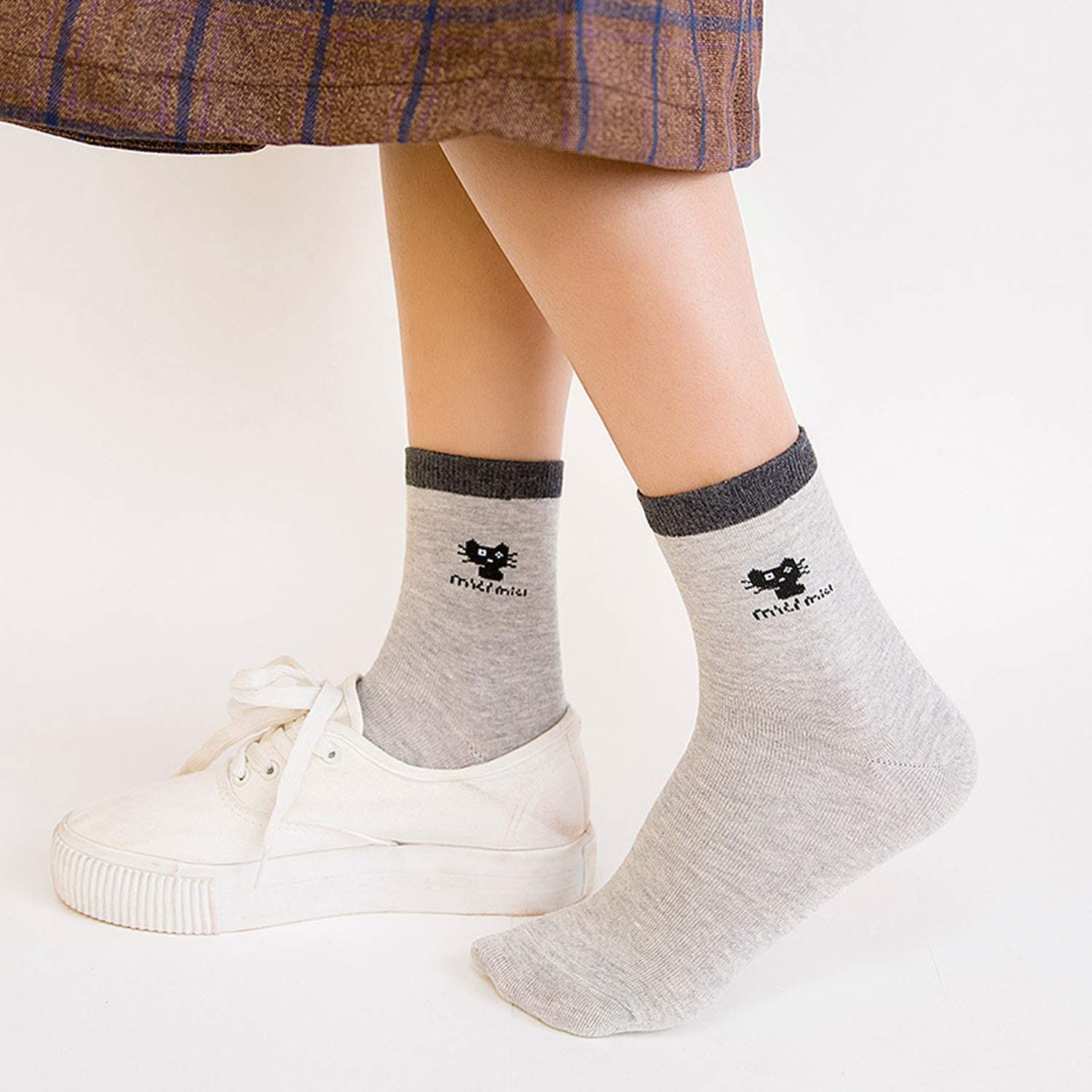 Cotton in the tube socks Simple little cat socks Tide women spring socks Girl in the tube socks