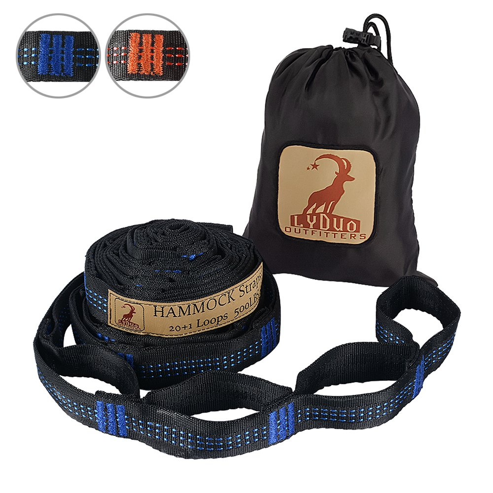 XL Hammock Straps 20 Adjustable Loops Tree Straps Tree Friendly Quick Easy Setup Lightweight Camping Hammock Accessories Heavy Duty No Stretch Suspension System, Blue