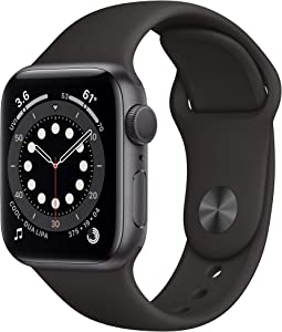 New Apple Watch Series 6 (GPS, 40mm) - Space Gray Aluminum Case with Black Sport Band (Renewed)